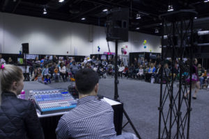 The organizers of the Baby & Tot Show worked with Mike of Calgary Show Services to ensure the presenters and young performers could hit their mark and moment.